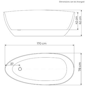 Rømø bathtub dimensions