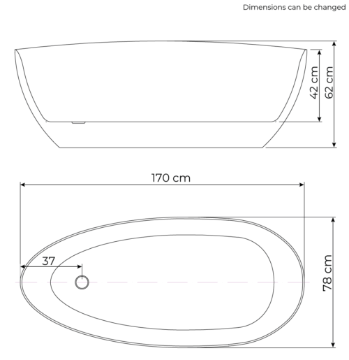 Rømø bathtub dimensions