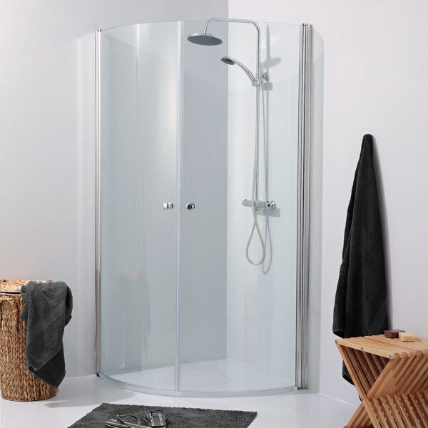 2 Curved Swing Doors In Clear Safety, Corner Shower Curved Glass Doors