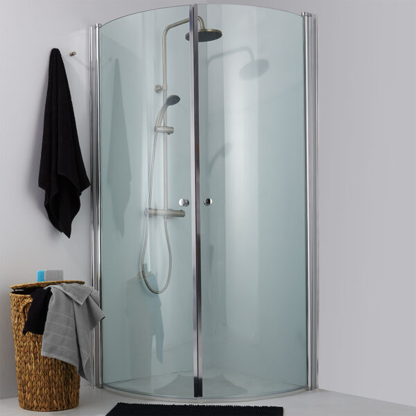 2 Curved Shower Doors In Clear Glass, Corner Shower Curved Glass Doors